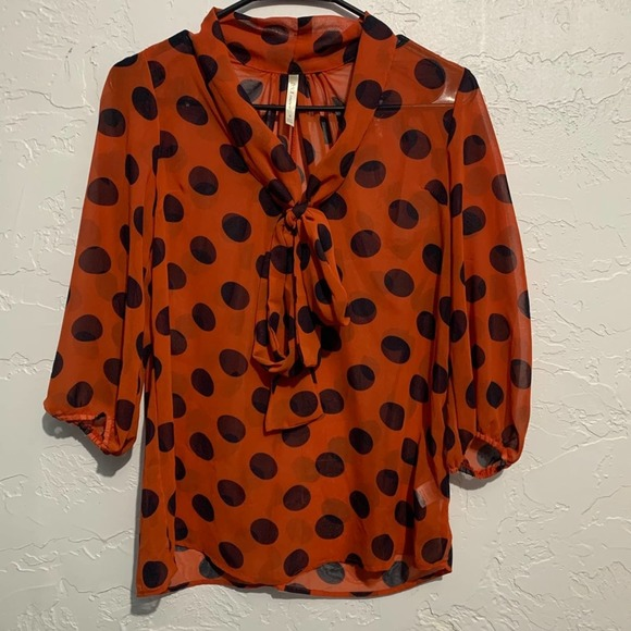 4/$25 DNA Couture Blue and Orange Polka Dot Blouse